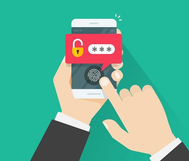 Manos con el teléfono móvil abierto con el botón de la huella digital y contraseña notificación vector de la historieta plana