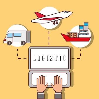 Manos trabajando portátil logístico camión avión y barco de carga