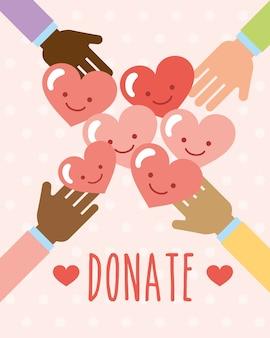Manos con unidad de corazones kawaii donan imagen