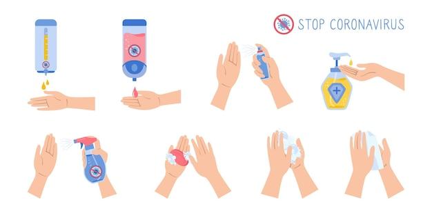 Las manos usan desinfectante en aerosol, jabón de lavado, contra el conjunto de dibujos animados del virus covid. botellas de pared desinfectante de desinfección plana de coronavirus, colección de gel antiséptico.