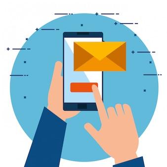 Manos usando el teléfono inteligente enviando un correo electrónico