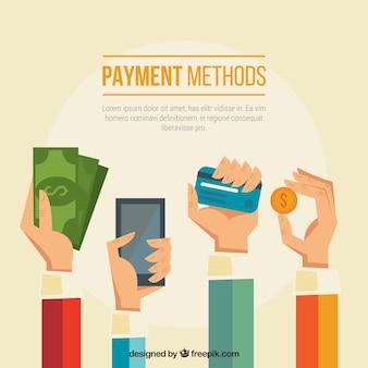 Manos con variedad de modos de pago