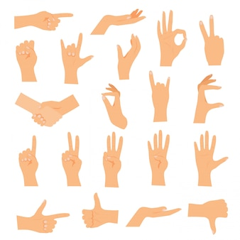 Manos en varios gestos. concepto de ilustración moderna de diseño plano.