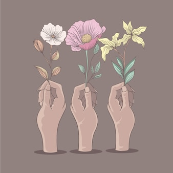 Manos con varios tipos de flores ilustración de color suave