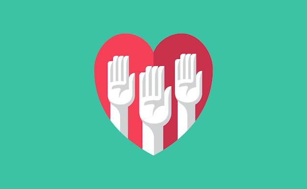 Manos voluntarias en una ilustración de corazón