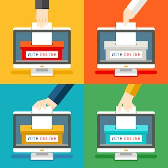 Manos de votación en línea. voto remoto e innovación tecnológica