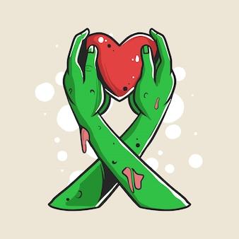 Las manos del zombi dan una ilustración de amor