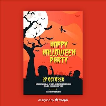 Manos de zombie en cementerio cartel de fiesta de halloween