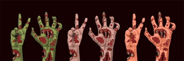 Manos de zombie de diferentes colores