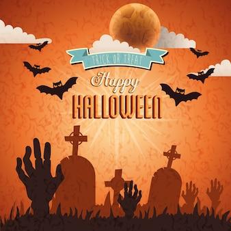 Manos de zombie con murciélagos volando en escena feliz halloween