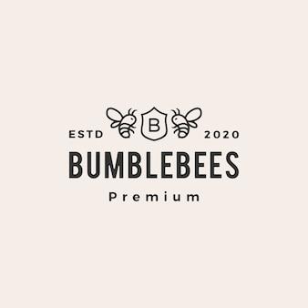 Manosee la ilustración del icono del logotipo del vintage del escudo de armas de la abeja