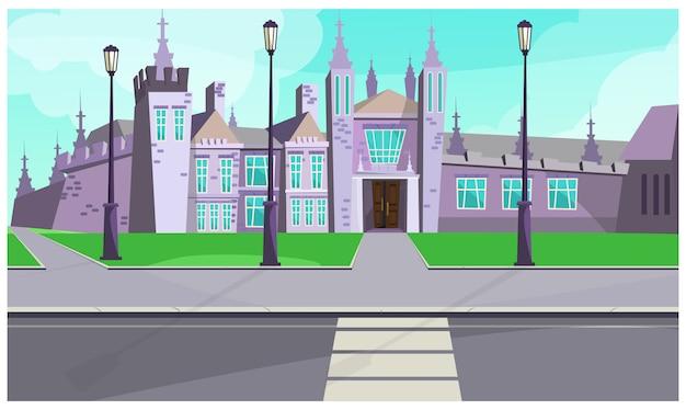 Mansión gótica en la ilustración de la calle de la ciudad