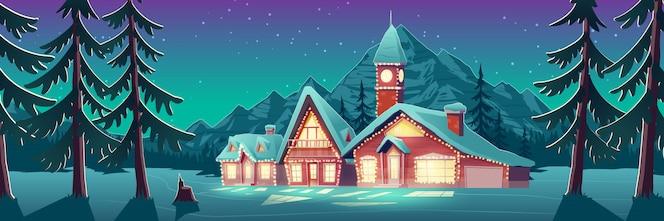 Mansión iluminada en la ilustración de campo cubierto de nieve