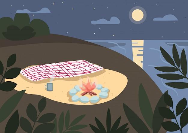 Manta y hoguera en la ilustración de color de la orilla del mar. picnic en la playa por la noche. camping de verano, vacaciones en la naturaleza. paisaje de dibujos animados de la costa de noche con luz de luna en el fondo