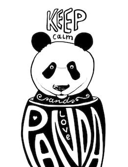 Mantén la calma y ama el póster de panda. ilustraciones vectoriales