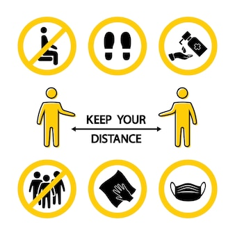 Mantén tu distancia. reglas de bloqueo. siéntate aquí. parate aquí. lávate o desinfecta tus manos. evite el hacinamiento. requiere mascarilla. limpieza en húmedo. iconos de prevención de virus. símbolos de medicina, bandera pandémica. vector