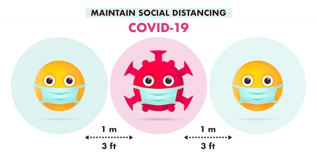 Mantener el distanciamiento social en la sociedad pública. diseño infográfico covid-19. concepto de cuarentena. símbolo de personaje de emoji coronavirus con máscara médica. ilustración plana moderna