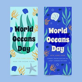 Mantenga las aguas limpias día de los océanos dibujados a mano