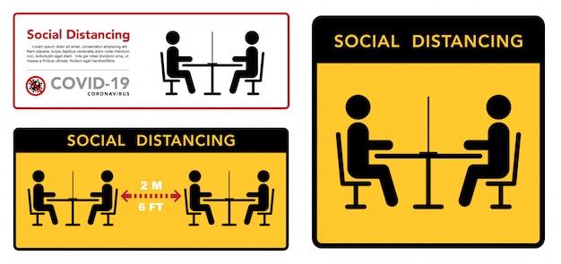 Mantenga una distancia social en restaurantes y cafeterías. las mesas de los visitantes están ubicadas a una distancia segura.