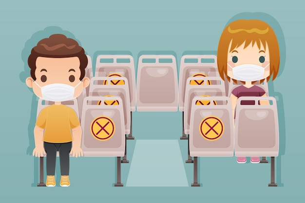 Mantenga la distancia en el transporte público.
