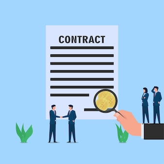 Mantenga la mano magnificar la firma de búsqueda en el contrato y encontró la metáfora de la moneda de la corrupción y el soborno.