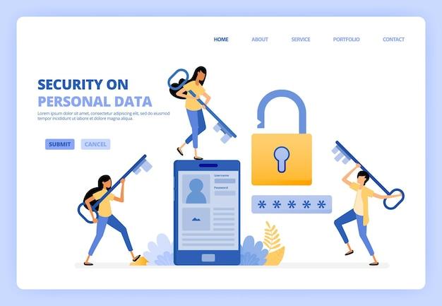 Mantenga la seguridad de los datos personales en la ilustración de servicios de aplicaciones móviles