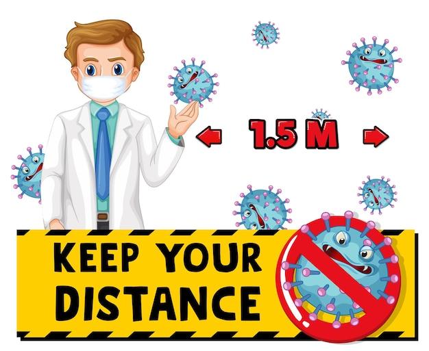 Mantenga su diseño de fuente de distancia con un hombre médico con máscara médica aislada sobre fondo blanco