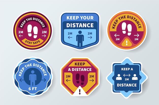 Mantenga su distancia - colección de letreros Vector Premium