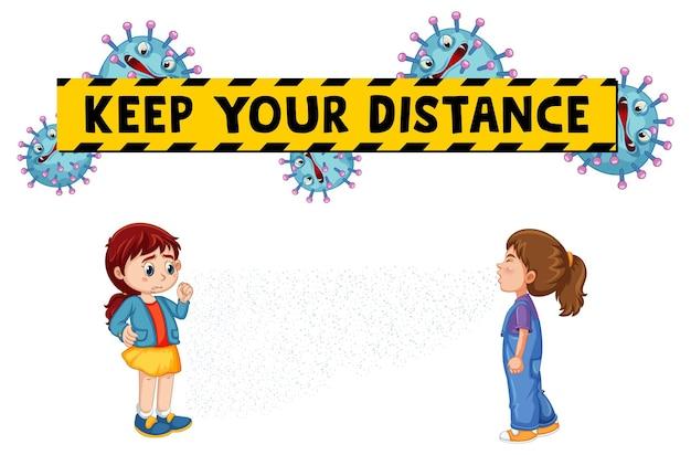 Mantenga su fuente de distancia en estilo de dibujos animados con