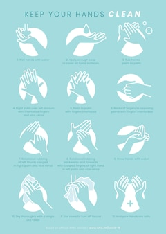 Mantenga sus manos limpias plantilla de protección contra coronavirus
