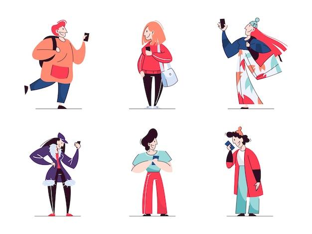 Manténgase conectado conjunto de conceptos. la gente charla en el teléfono móvil. idea de tecnología moderna y comunicación global. ilustración