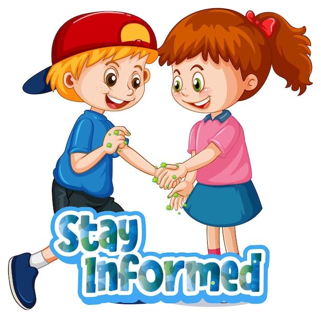 Manténgase informado de la fuente en estilo de dibujos animados con dos niños no mantenga la distancia social aislada en el fondo blanco