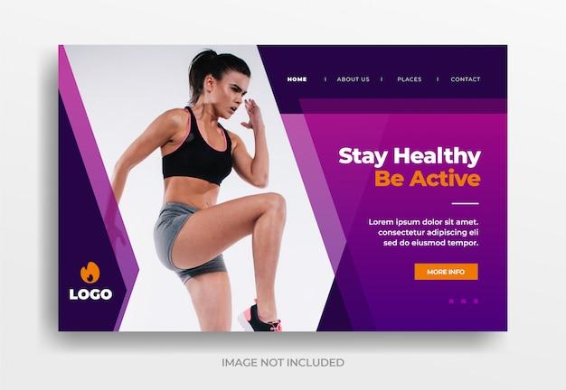 Manténgase saludable, sea activo, banner, página de inicio, plantilla, sitio web, plantilla