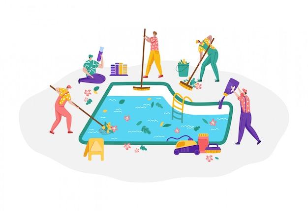Mantenimiento de piscinas o servicio de limpieza, grupo de personas en miniatura en una piscina limpia y uniforme