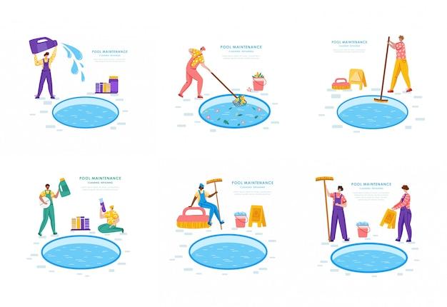 Mantenimiento de piscinas o servicio de limpieza, grupo de personas uniformadas, productos de limpieza para piscinas
