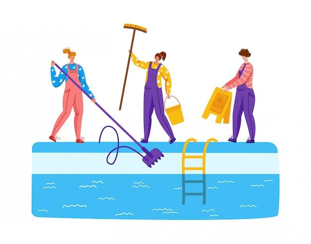 Mantenimiento de piscinas o servicio de limpieza, grupo de personas en uniforme