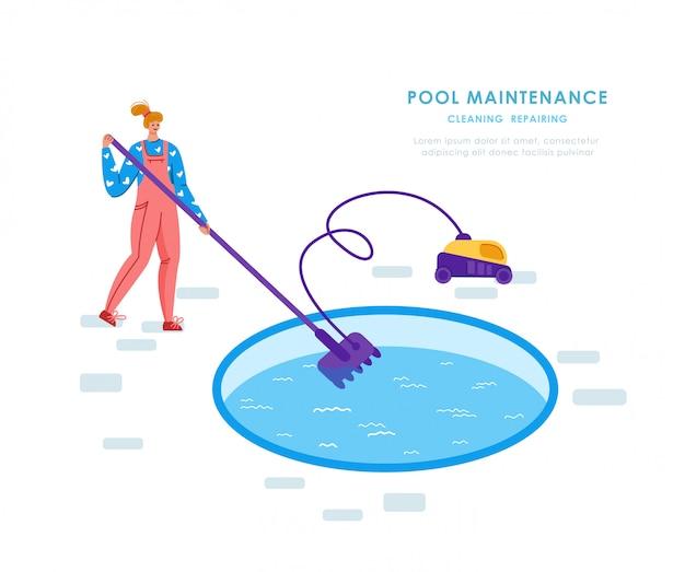 Mantenimiento de piscinas o servicio de limpieza, niña en agua limpia uniforme con aspiradora