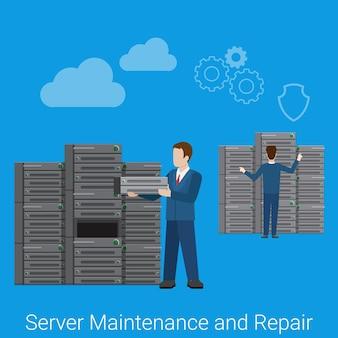 Mantenimiento y reparación de servidores. ilustración de infografías de web de concepto de tecnología de sitio web de estilo plano.