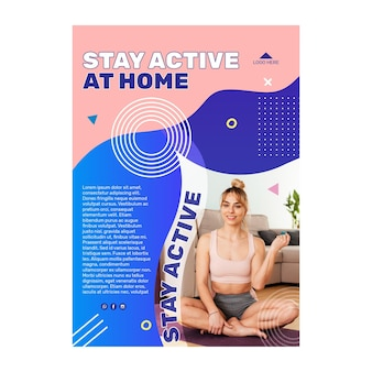 Mantente activo en casa plantilla de póster