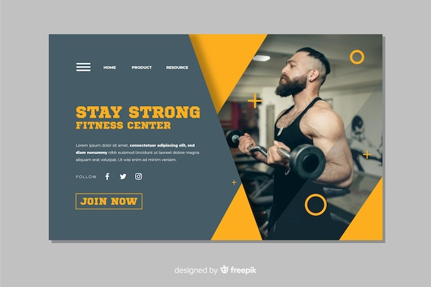 Mantente fuerte en la página de inicio de la promoción del gimnasio