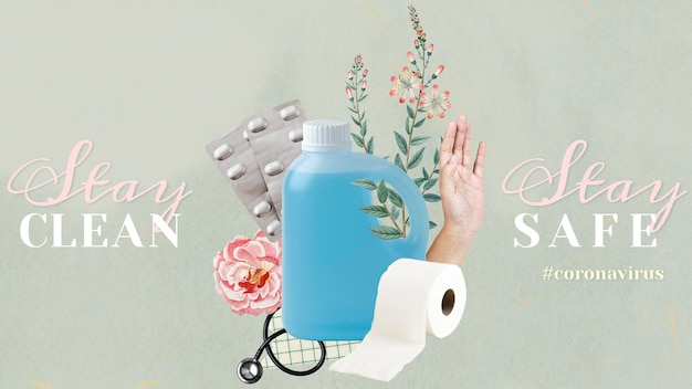 Mantente limpio, mantente seguro durante la plantilla social de la pandemia del coronavirus.