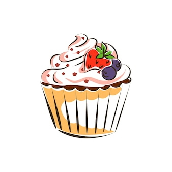 Mantequilla, crema, muffin, chocolate, topping, fresas, y, arándanos, vector