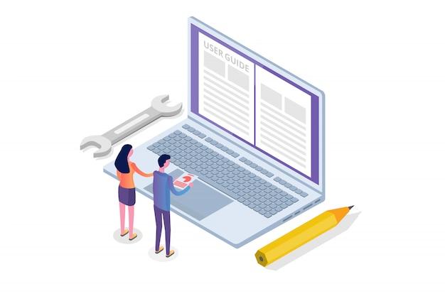 Manual de usuario, guía, instrucciones, guía, concepto isométrico del manual. ilustración.