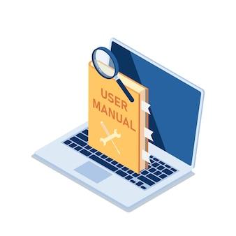 Manual de usuario plano 3d isométrico con lupa en el monitor de la computadora portátil. concepto de guía del manual de usuario.