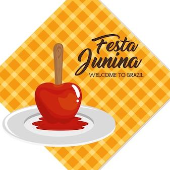Manzana de caramelo en placa sobre ilustración de vector de diseño cuadrado blanco y naranja