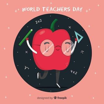 Manzana de dibujos animados con el concepto del día del maestro mundial