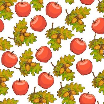 Manzana madura, hojas de roble con bellota de patrones sin fisuras