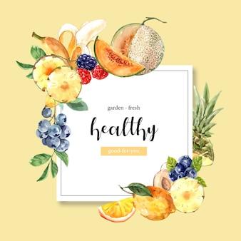 Manzana de pino, melón, uva, melón frutas, plantilla de ilustración creativa tema amarillo.
