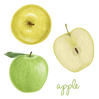 Manzana pintada con acuarelas