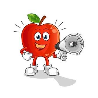 Manzana roja sosteniendo la mascota de dibujos animados de altavoces de mano